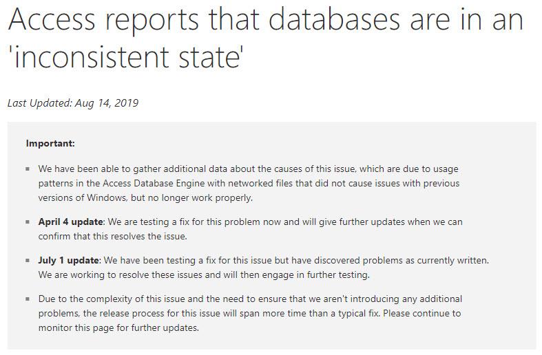 Inconsistent State Error
